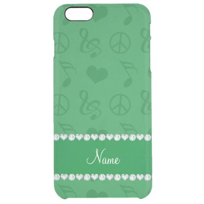 Name green music notes hearts peace sign clear iPhone 6 plus case