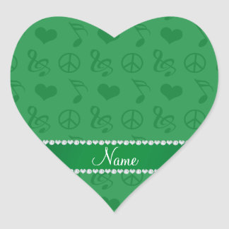 Name green music notes hearts peace sign heart sticker