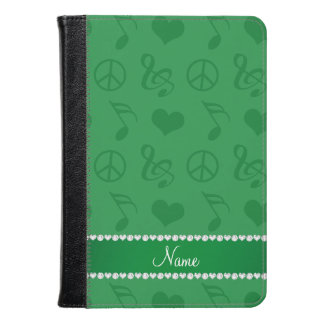Name green music notes hearts peace sign kindle case