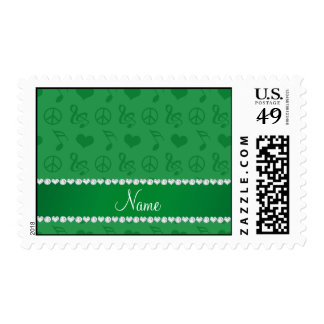 Name green music notes hearts peace sign postage