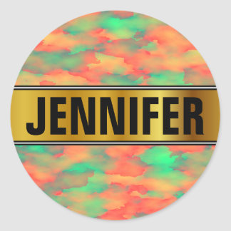 Name + Green, Red Watercolor-Like Abstract Pattern Classic Round Sticker