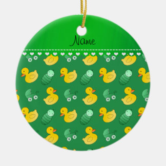 Name green rubberduck baby carriage ceramic ornament
