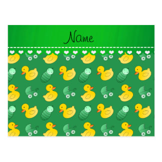 Name green rubberduck baby carriage postcard