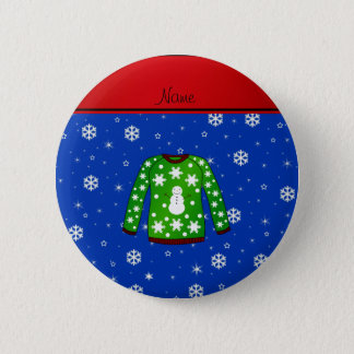 Name green ugly christmas sweater blue snowflakes button