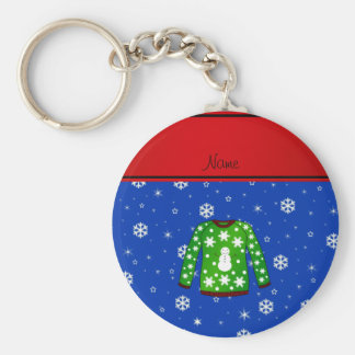 Name green ugly christmas sweater blue snowflakes basic round button keychain