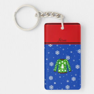 Name green ugly christmas sweater blue snowflakes Double-Sided rectangular acrylic keychain
