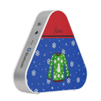 Name green ugly christmas sweater blue snowflakes speaker