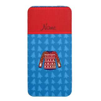 Name green ugly christmas sweater blue trees iPhone 5 pouch