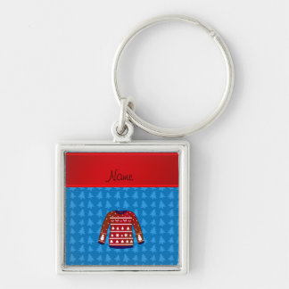 Name green ugly christmas sweater blue trees Silver-Colored square keychain
