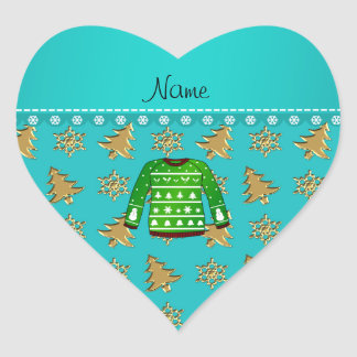 Name green ugly christmas sweater gold trees heart sticker