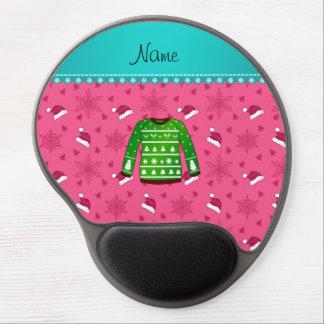 Name green ugly christmas sweater pink santa hats gel mouse pad