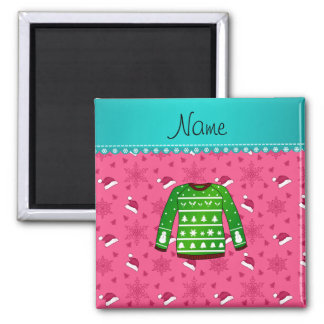 Name green ugly christmas sweater pink santa hats magnet