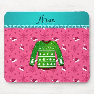 Name green ugly christmas sweater pink santa hats mouse pad