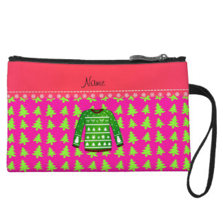 Name green ugly christmas sweater pink trees wristlet