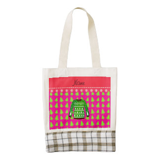Name green ugly christmas sweater pink trees zazzle HEART tote bag