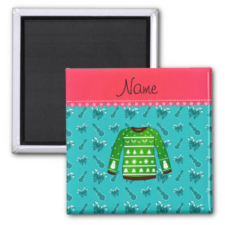 Name green ugly christmas sweater turquoise canes 2 inch square magnet