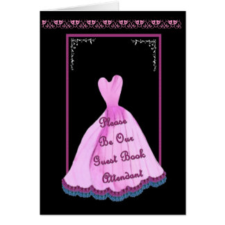 NAME Guest Book Attendant PINK Gown Flowered Trim Greeting Card