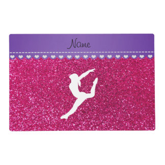 Name gymnast neon not pink glitter placemat