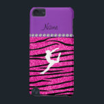 "Name gymnast neon not pink glitter zebra stripes iPod touch 5G case<br><div class=""desc"">Modern, girly, chic and trendy Custom name neon hot pink glitter zebra stripes pattern (not real glitter) background and with purple diamond stripe (not real diamonds), a white gymnastics silhouette personalized with just add your name gifts or monogram gifts or your initials for a unique gift. Gymnastics gift ideas for...</div>"