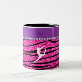 Name gymnast neon not pink glitter zebra stripes Two-Tone coffee mug