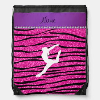 Name gymnast neon not pink glitter zebra stripes drawstring bags