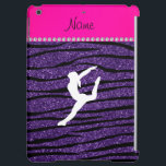 "Name gymnast purple glitter zebra stripes iPad air cover<br><div class=""desc"">Modern, girly, chic and trendy Custom name purple glitter zebra stripes pattern (not real glitter) background and with neon hot pink diamond stripe (not real diamonds), a white gymnastics silhouette personalized with just add your name gifts or monogram gifts or your initials for a unique gift. Gymnastics gift ideas for...</div>"
