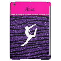 Name gymnast purple glitter zebra stripes iPad air cover