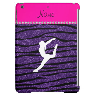 Name gymnast purple glitter zebra stripes iPad air cover