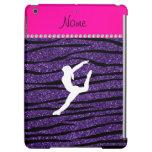 Name gymnast purple glitter zebra stripes iPad air covers