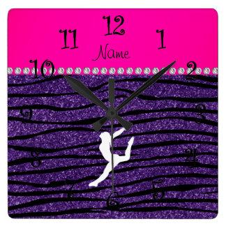 Name gymnast purple glitter zebra stripes square wall clock