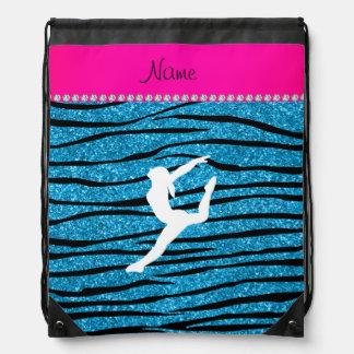 Name gymnast sky blue glitter zebra stripes backpack