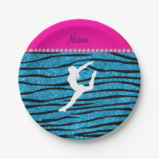 Name gymnast sky blue glitter zebra stripes paper plate