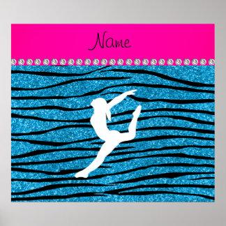 Name gymnast sky blue glitter zebra stripes poster