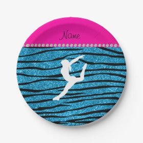 Name gymnast sky blue glitter zebra stripes 7 inch paper plate