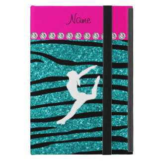 Name gymnast turquoise glitter zebra stripes iPad mini cover