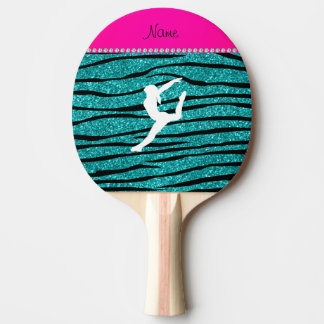 Name gymnast turquoise glitter zebra stripes Ping-Pong paddle