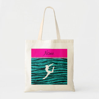 Name gymnast turquoise glitter zebra stripes tote bag