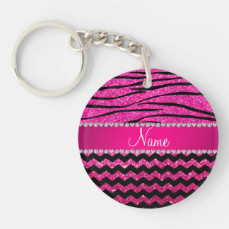 Name hot pink chevrons zebra stripes keychain