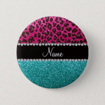 Name hot pink glitter leopard turquoise glitter button