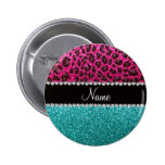Name hot pink glitter leopard turquoise glitter buttons