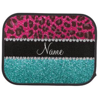 Name hot pink glitter leopard turquoise glitter car floor mat
