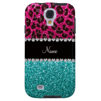 Name hot pink glitter leopard turquoise glitter galaxy s4 case