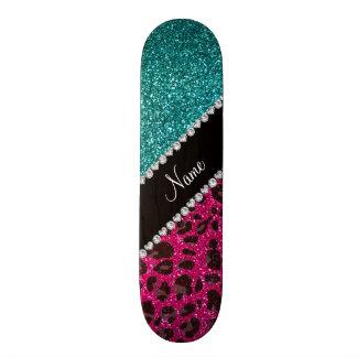 Name hot pink glitter leopard turquoise glitter skate board deck