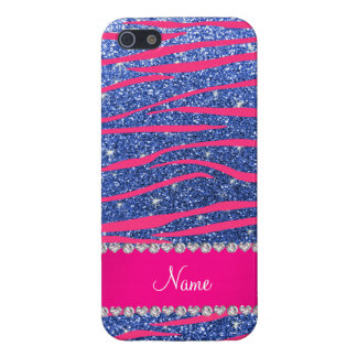 Name hot pink zebra stripes blue glitter cover for iPhone SE/5/5s