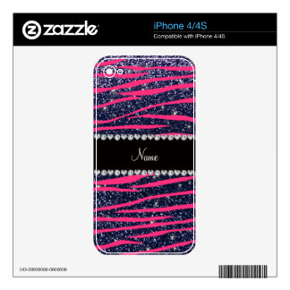 Name hot pink zebra stripes navy blue glitter iPhone 4S decal