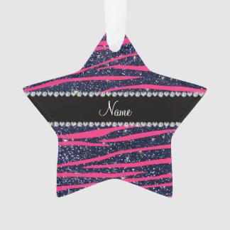 Name hot pink zebra stripes navy blue glitter ornament