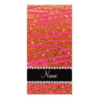 Name hot pink zebra stripes orange glitter photo cards