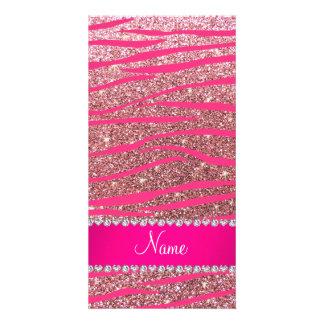 Name hot pink zebra stripes pastel pink glitter photo card template
