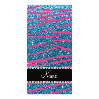 Name hot pink zebra stripes sky blue glitter picture card