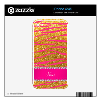 Name hot pink zebra stripes yellow glitter iPhone 4S decal